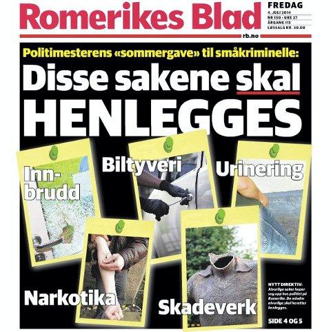 Nedprioriterer hverdagskriminalitet: Romerikes Blad 4. juli 2014.