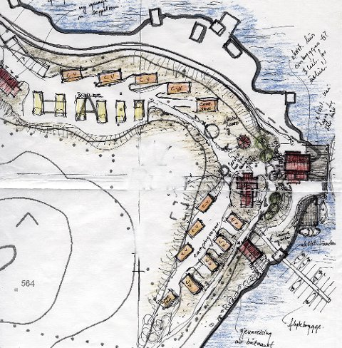 Skisse som viser hvordan byggene blir, med vognplasser og bobilplasser inntegnet.