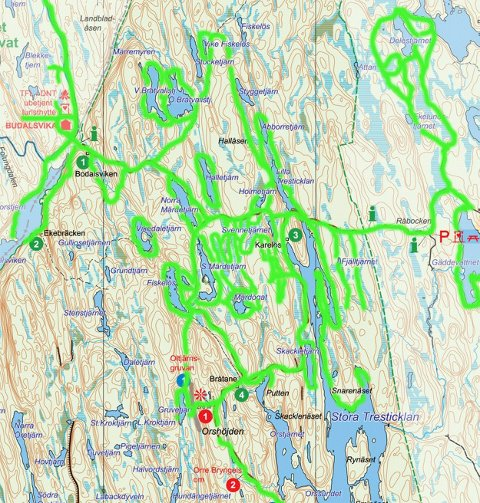 Det grønne feltene på kartet er det lett tidligere. Håkon Andersen ble funnet ca en kilometer øst for hytta i Budalsvika.