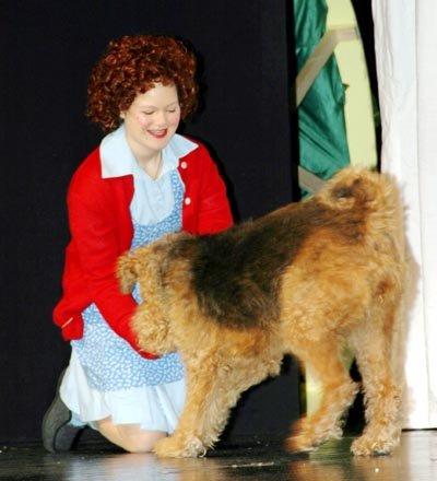 Caroline Moen (Annie) og hunden Tera (Sandy) mottok fortjent stående applaus og jubel etter premieren.