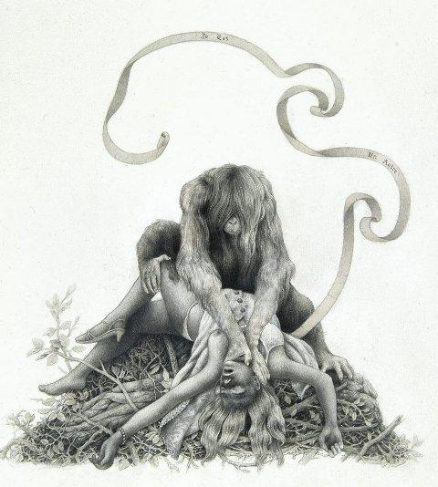 «JE EST UN AUTRE»: Henspiller på frykten for Det Andre. Motivet er en kvinne som blir overfalt av et apeliknende troll. Det siviliserte individet er i vedvarende diskontinuitet med spøkelset av neandertaleren.