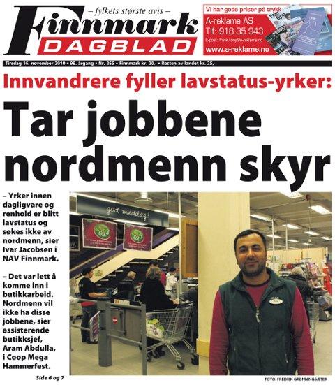Finnmark Dagblad 16. november 2010.