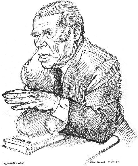 DEBUT i 1987 | Den første tegningen på trykk i RB var av USAs tidligere forsvarsminister Robert McNamara.