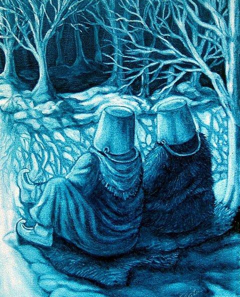 Lurt: Ifølge tradisjonen måtte en blivende sjaman oppsøke åndene lille julaften. Bøtta på hodet skulle hindre at åndene vrei hodet rundt på dem. Ill. Edith Flåten