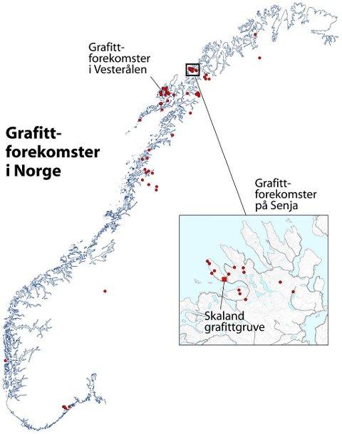 RESSURSER: Det finnes cirka 100 kjente grafittforekomster i Norge. På Senja og i Vesterålen er to av de største forekomstene.