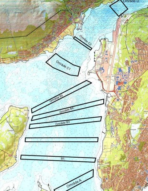 FRAM OG TILBAKE: I de avmerkede områdene har Rambøll Danmark kjørt fram og tilbake på havet og kartlagt bunnforholdene i Sandnessundet ? og funnet ut hvor lang avstanden er fra havbunnen til fjellgrunn. Kart: Statens vegvesen