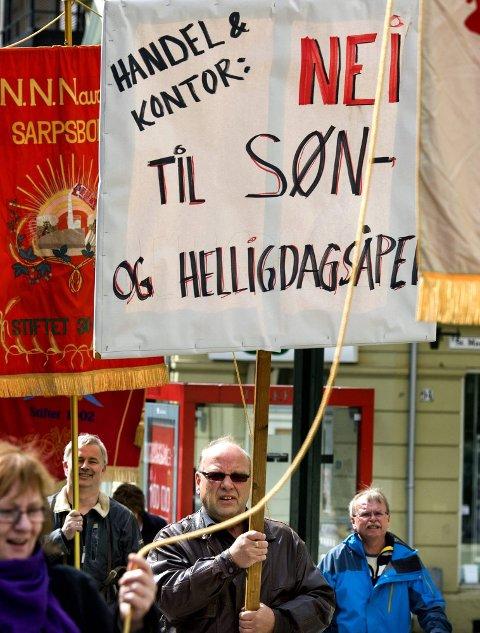 NEI: Vegard Skoglund og Handel og Kontor, vil ikke ha søndagsåpne butikker.