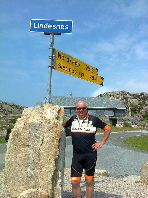 Helt sør: Pål syklet ned til Lindesnes før han rettet sykkelen nordover.