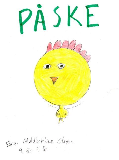 påske: Eira Muldbakken Strøm (9 år) fra Dokka har tegnet denne påsketegningen. Tusen takk for flott tegning, Eira!