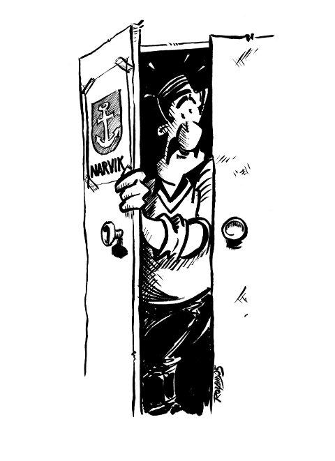SKAP-NARVIKING ... fra Ankenes. (Illustrasjon fra boka «Schnakkes».