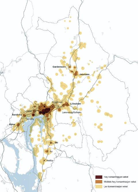ALTERNATIV 1: Her er dagens kommuneplaner lagt til grunn og videreført for å vise hvordan utbyggingsmønsteret vil se ut fram mot 2030 med dagens arealpolitikk. ? I tillegg til tettere arealbruk i Oslo og på de største stedene i Akershus, ser vi at nye utbyggingsområder vil bli tatt i bruk i ytterområdene. En såpass spredt utbygging vil kreve at transportressursene spres tilsvarende, i tillegg til omfattende framkommelighetstiltak for buss, påpeker Ellen Grepperud.  Alle ill.: Plansamarbeidet