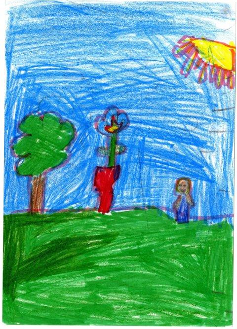 sol og sommer: Andjela Koria (6 år) har sendt oss denne flotte sommertegningen. Andjela går i Vindingstad SFO. Tusen takk for fin tegning, Andjela!