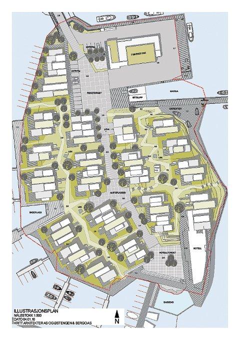 Slik ser arkitektene for seg utnyttelsen av Holmen-arealet (Ill. Kritt arkitekter/Østengen & Bergo landskapsarkitekter)
