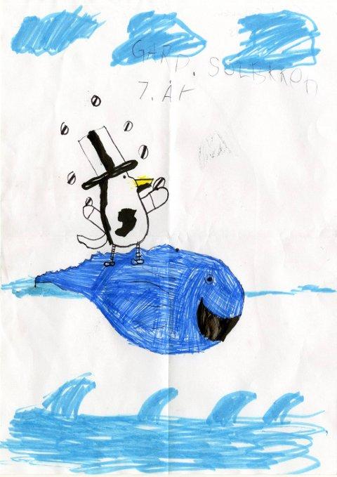 på «svømmetur»: Fra sju år gamle Gard Solbakken fra Biri har vi fått denne flotte tegningen av en hval og en pingvin på «svømmetur». Tusen takk for tegningen, Gard!