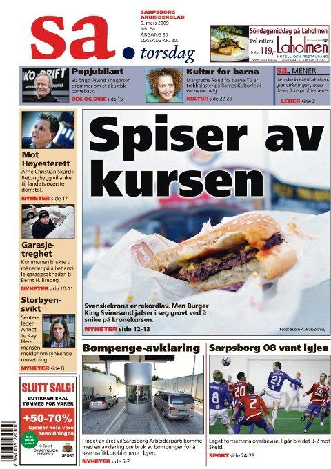 I dagens SA avsløres Burger King på Svindesund som en versting når det gjelder vekslingskurs. (Faksimile av SA torsdag)