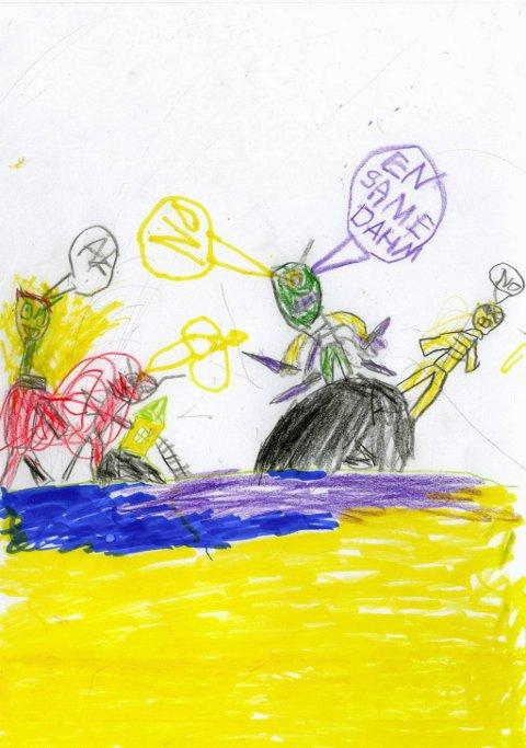 en same dahm: Fra seks år gamle Emil Rime har vi fått denne flotte tegningen. Emil går i Vindingstad SFO. Tusen takk for tegningen, Emil!