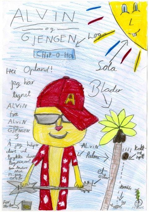 alvin: Jeg har tegnet Alvin fra Alvin og Gjengen 3, og jeg håper dere vil trykke denne tegningen, skriver Anders Moe (9 år). Her kommer den flotte tegningen din og tusen takk til deg, Anders!