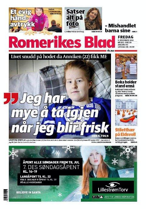 SYK I TRE ÅR: Romerikes Blad 5. desember 2014. SYK I TRE ÅR: Romerikes Blad 5. desember 2014.