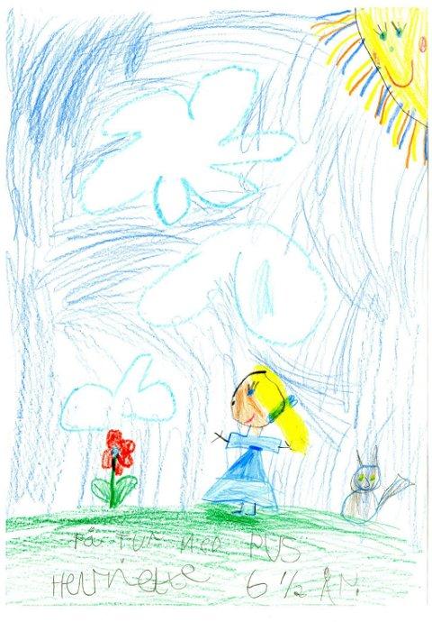 på tur med pus: Henriette Fuglehaug Wetting (6 1/2 år) fra Brandbu har tegnet seg selv når hun er ute og går tur med pus. Tusen takk for flott tegning, Henriette!