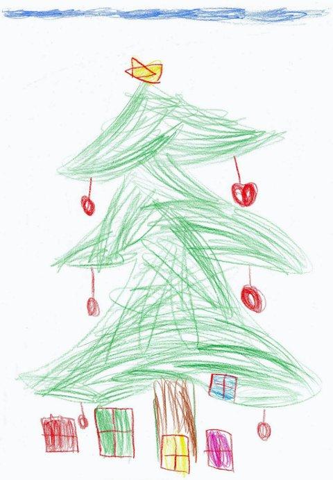 juletre: Sebastian som går i Topro Bondelia barnehage har tegnet denne flotte tegningen av et juletre med gaver under treet. Takk for fin tegning, Sebastian!