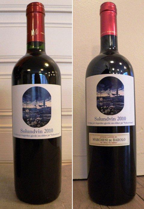 Solund har fått sin eigen vin, ein italiensk og ein fransk, med etikettar laga av kunstnaren Magne Hamre.