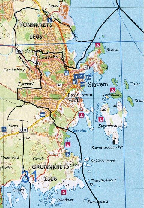 Ny grense: Det midterste området er det opprinnelige Stavern sokn. Nå utvides det med grunnkrets 1605 og 1606 (se kart).