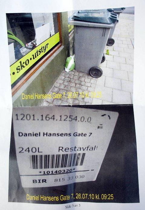 Denne posen som noen har satt utenfor bosspannet førte til gebyr fra kommunen.