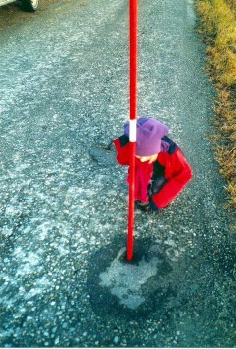 DYPT HULL: Sunniva Vindal Frantzen fant et hull i veien som var mer enn en meter dypt.  FOTO: PRIVAT