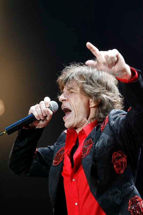 Mick Jagger på scenen på Koengen.