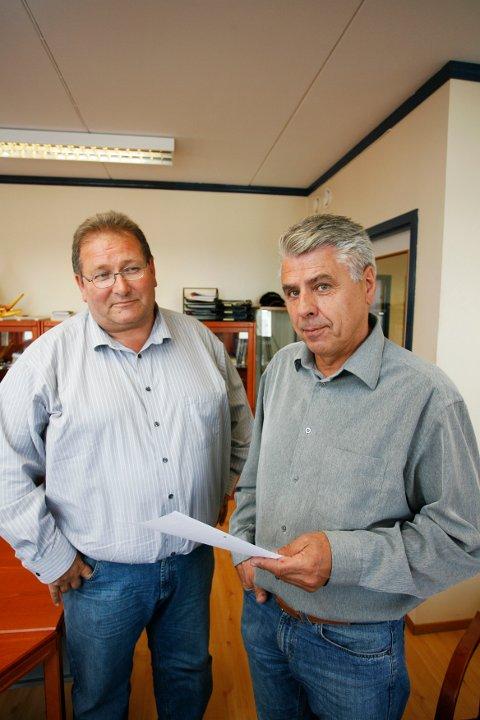 Tidligere eier Trond Emblem og tidligere daglig leder Jostein Berland ved Vest Tank.