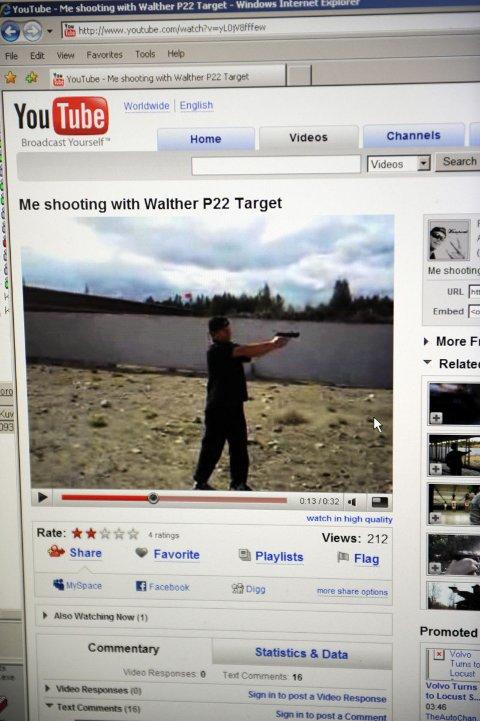 Gjerningsmannen har lagt ut video av seg selv på nettstedet You Tube få dager før skytetragedien (23.09.2008).