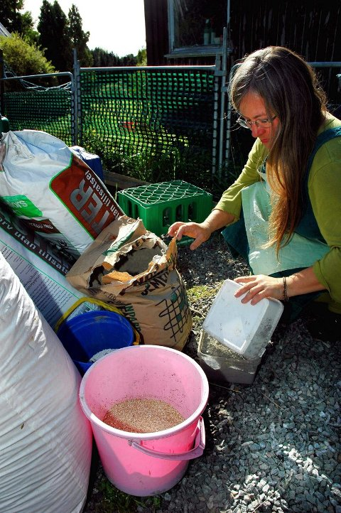 RIKTIG BLANDING: To deler sement, to deler verniculite og én del ugjødslet torv blir den perfekte hypertufa-blanding, mener kursleder Hilde Kramer.