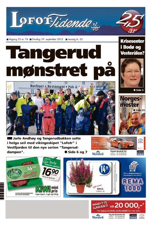 Lofot-Tidende møtte gjengen bak Tangeruddampen i Stamsund. Faksimile 19.september 2012.