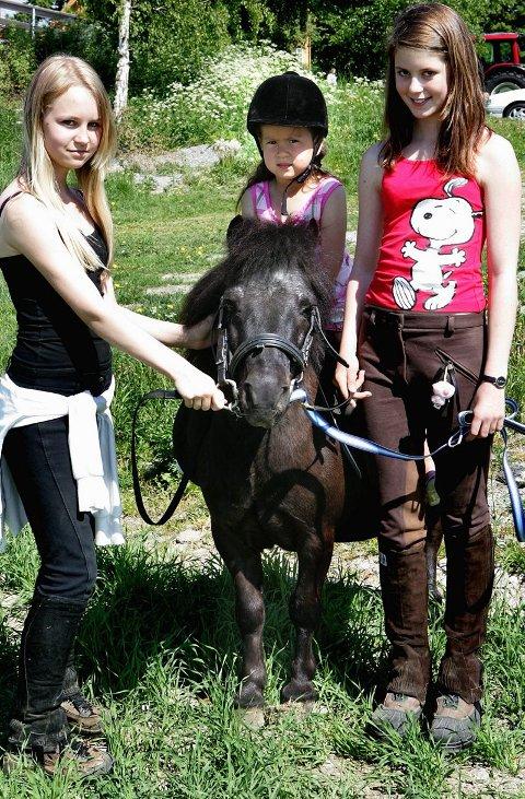 MINIHEST: Camilla Wold Olsen (13) (t.v.) og Vivian Kind Svendsen (13) (t.h) passet på shetlandsponnien Balder. Emma Haaland (4), syntes det var morsomt å ri.FOTO: TOM GUSTAVSEN