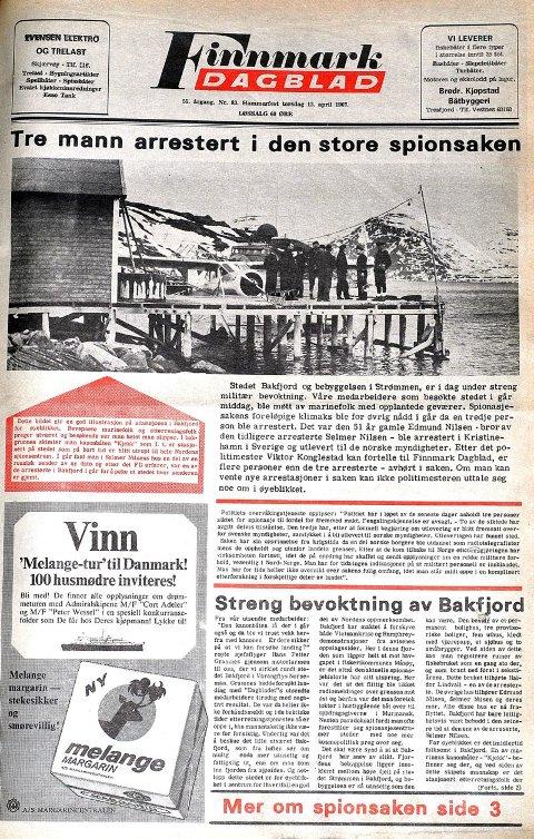 Finnmark Dagblad 13. april 1967. Selmer Nilsen, broren og svigerbroren blir arrestert.