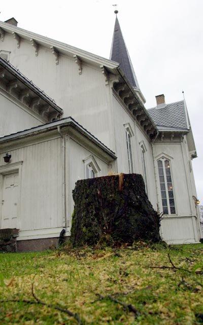 Noe av vedlikeholdsarbeidet er allerede påbegynt på Fet kirke. Blant annet er alle trærne rundt kirken fjernet.