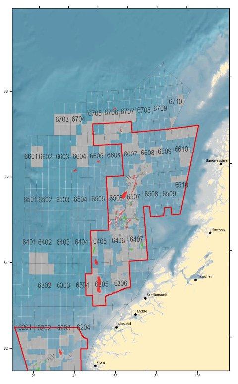 Kartene viser konsesjonsbelagte områder innenfor TFOområdene per 3. april 2014. Illustrasjon: Oljedirektoratet