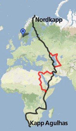 RUTA: Her er grovskissen av ruta. De røde strekene er alternative ruter. KART: GOOGLE MAPS