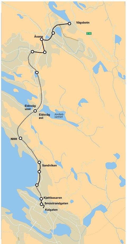 Dersom det lar seg gjøre å bygge tunnellinnslaget for Bybanen ved Kjøttbasaren, blir traseen til Åsane slik som grafikken BA har laget viser.
