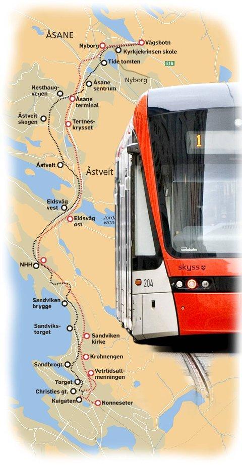 Grafikken viser de ulike trasémulighetene til Åsane.