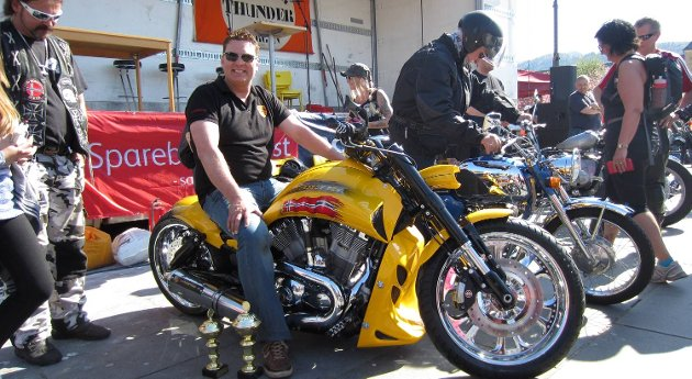 Trygve Tønnessen tok hjem prisene for Beste Harley Davidson og People's Choice med sin Harley Davidson med Porsche-motor.