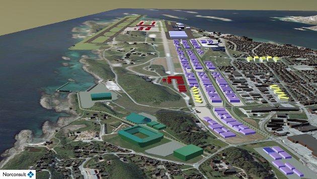 Visjon Bodø 2040. Kampflybase (rødt), idrettsanlegg (grønt), Bodin leir (rødt, nærmest), utnyttelse av ledige områder (lilla og gult).