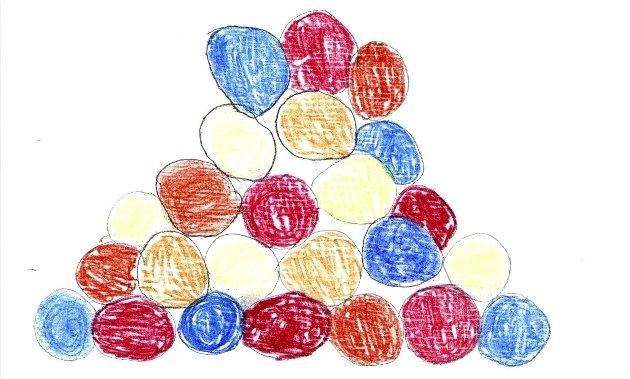 1. Eric Nsabinbona, 8 år, Førde barneskule. Runde steinar i ulike fargar. Kombinasjon som statue og klatrestativ. Kule dikt og sitat på steinane av kjende diktarar og kunstnarar i Førde eller Sunnfjord.