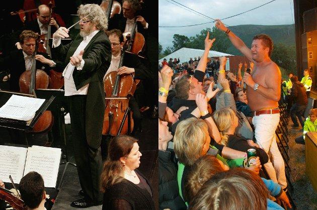 HELT?FORSKJELLIG:?Kronikkforfatteren peker på forskjellene mellom Høyre og Fremskrittspartiets kulturideologi. Til ventsre dirigent Terje Boye Hansen fotografert da den Norske opera gjestet Tromsø. Til høyre  Bjarne Brøndbo og DDE som gjorde stor suksess på Havnnesfestivalen.