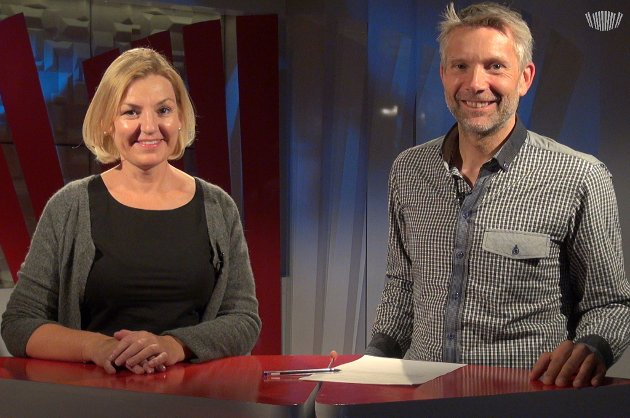 OL-FORDELER: Direktør for Oslo-OL 2022, Eli Grimsby, besøkte Nordlys' tv-studio, der hun ble intervjuet av Øystein Barth Heyerdahl. Foto: Ole Åsheim