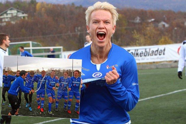 Christer Johnsgård scoret hattrick og sikret dermed opprykket til FK Senja mot Ishavsbyen i dag. Innfelt har vi champagne-feiring i etterkant.