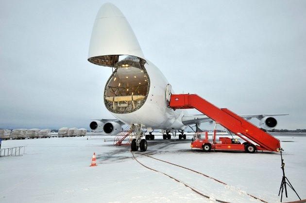 Boeing 747-flyet bedre kjent som jumbojet skal benyttes på den rene fraktruten til USA fra Gardermoen. FOTO: HANS OLAV NYBORG