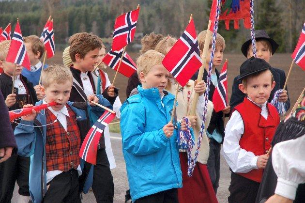 HARESTUA: Det norske flagget gjorde seg i vinden.FOTO: Hege Linnerud næss