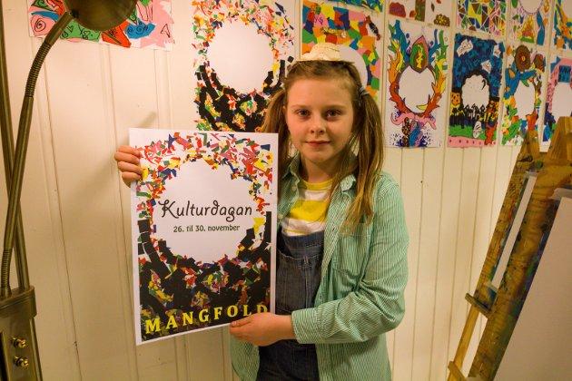 KUNSTUTSTILLING: Andrea Klæbeo Wie (11) lagde den offisielle festivalplakaten.
