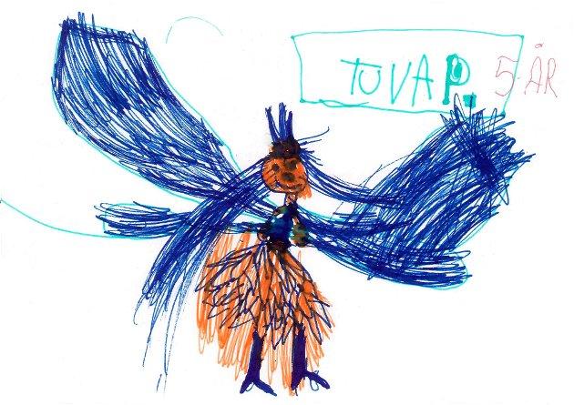 Prinsesse: Tuva Pedersen Pinslund (5 år) fra Snertingdal har sendt oss denne tegningen. Tuva og Jonas er tvillinger. Tusen takk for fin tegning, Tuva!